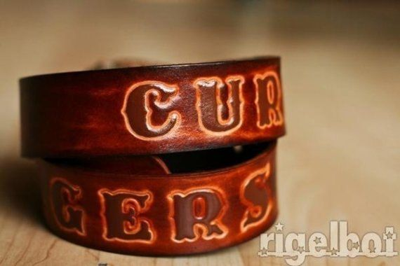Custom Sunburst Leather Name Belt Personalized With by Exsect, $60.00