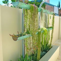 For the space-challenged, lovely vertical garden feature ...