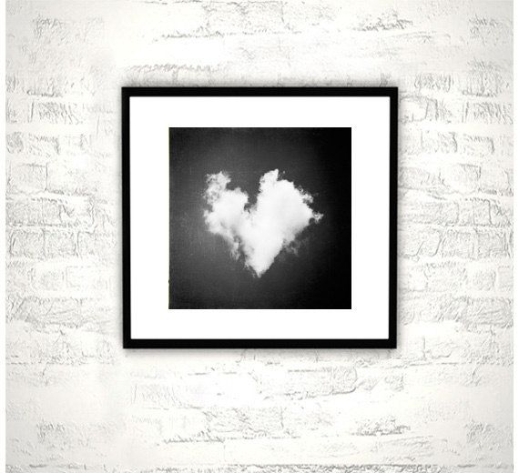 Black and white photography heart love cloud nursery print sky dark wall monochromatic modern fine
