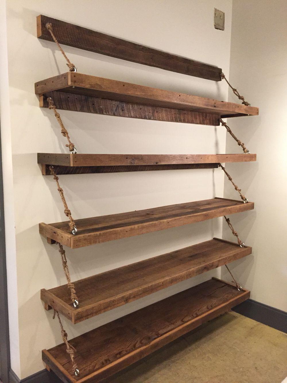 reclaimed wood rope shelves for the home hem inredning hus b thus. Black Bedroom Furniture Sets. Home Design Ideas