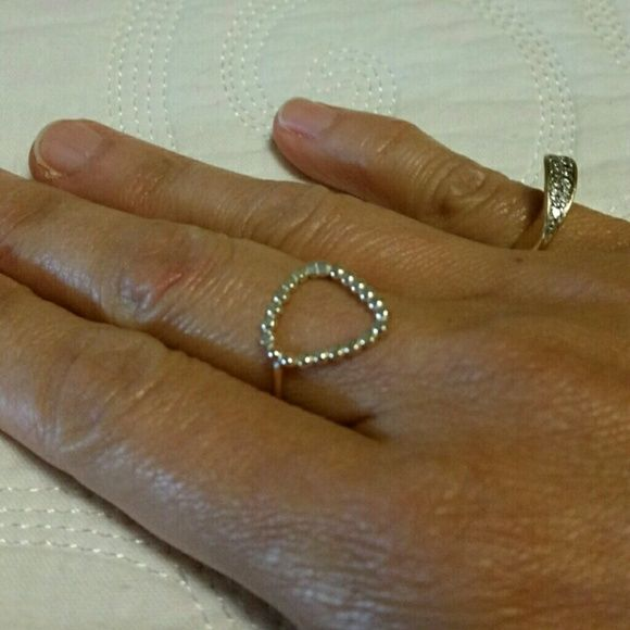 Triangle ring Silver / Gold Hammered 14k gold filled & silver metal  NWOT Laura J Designs  Jewelry Rings
