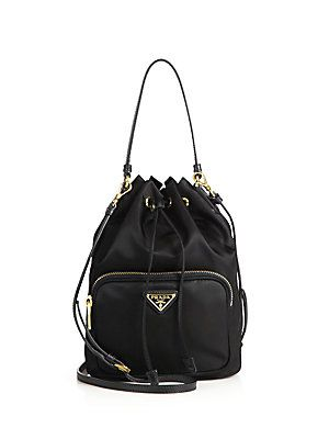 2b7a27f34a03 Prada Mini Nylon   Leather Bucket Bag