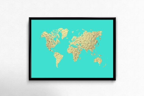 Turquoise and gold Printable world map art, Faux gold foil