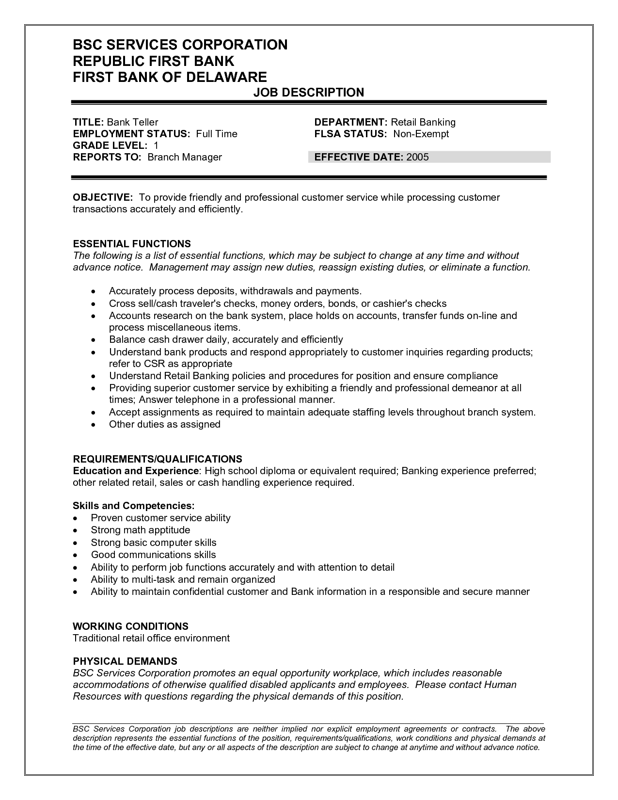 bank teller job description for resume http resumesdesign com