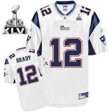 Patriots  12 Tom Brady White Super Bowl XLVI Stitched NFL Jersey ... 81dccccd1
