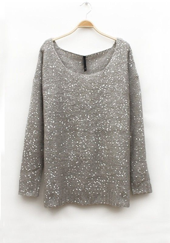 79c92a585a5 Sparkle and SHINE! Gray Wool Blend Sweater with Sequins ... So Pretty!   grey  sparkle  sweater