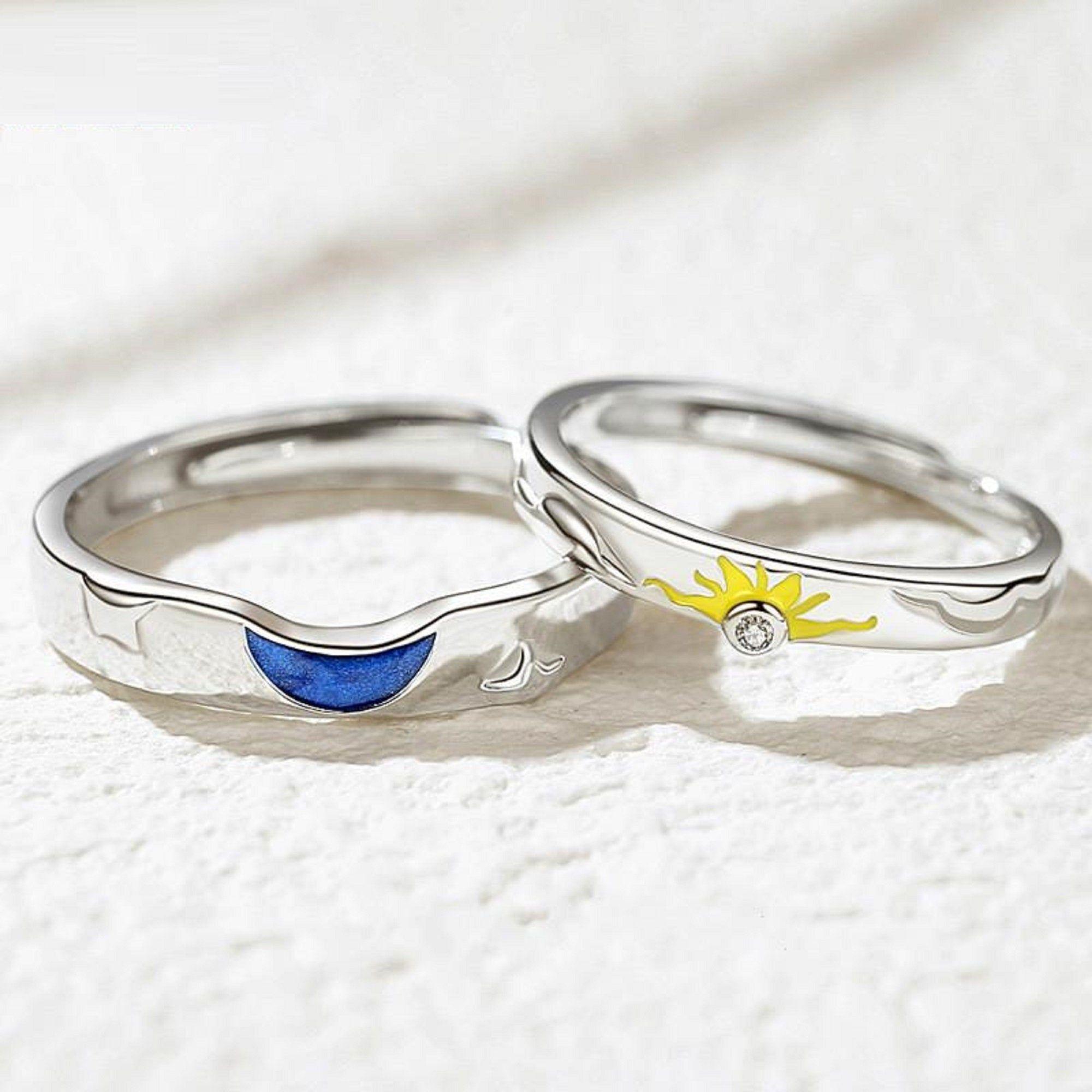 S925 Sterling Silver Zircon Sun Moon Promise Rings Couple Etsy Promise Rings For Couples Couples Ring Set Handmade Engagement Rings