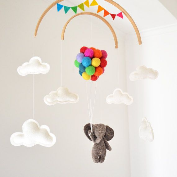 Baby Mobile Elephant flying rainbow Safari woodland Nursery Decor Baby Shower newborn gift garland | up and away cot mobile Felt