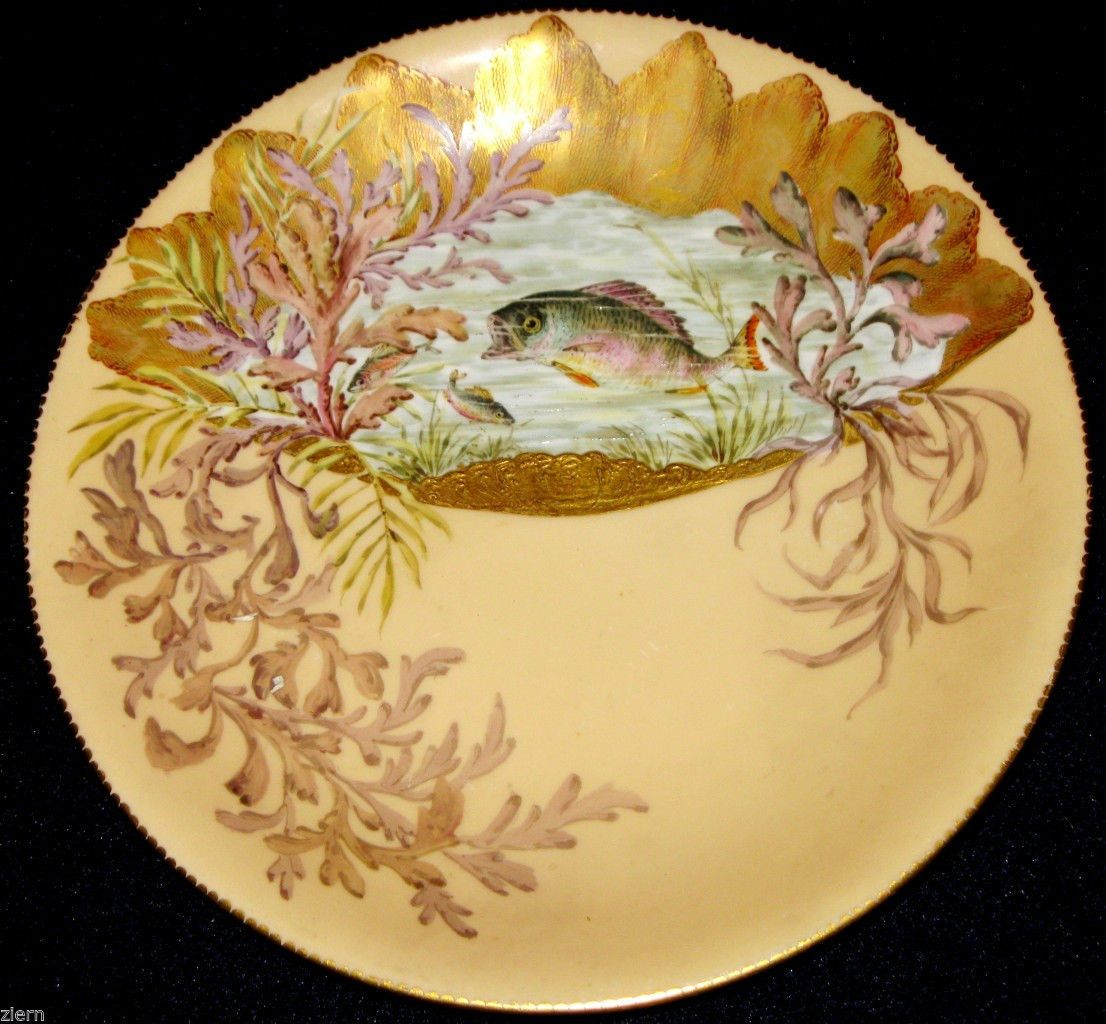 1880s Antique Royal Crown Derby Hand Painted Perch on Porcelain Plate | eBay