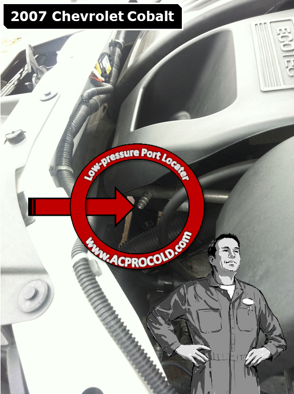 2007 Chevrolet Cobalt Low Side Port for A/C Recharge