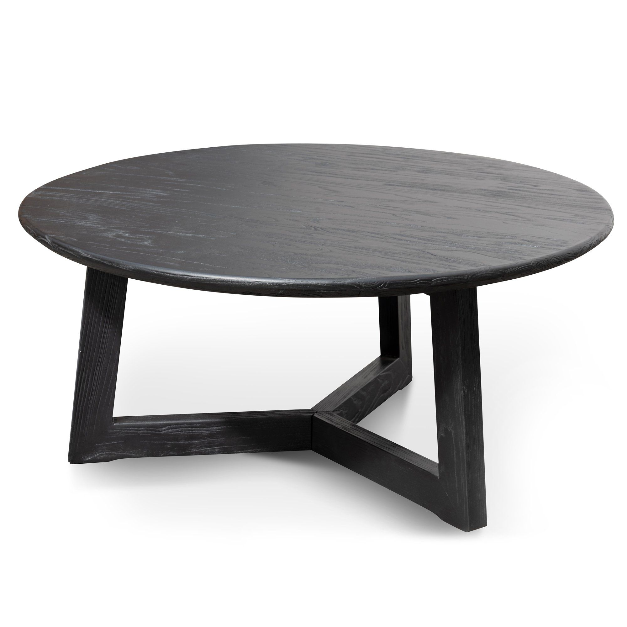 Ellias 1m Wooden Round Coffee Table Black Interior Secrets