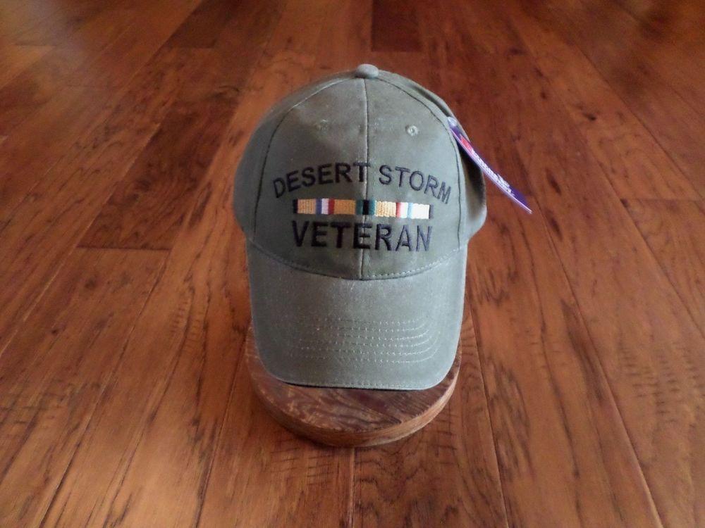 NEW U S MILITARY DESERT STORM VETERAN HAT ARMY MARINE CORPS STONE