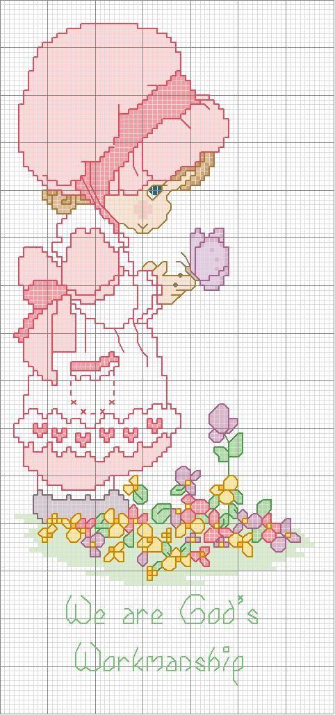 Disegno per punto croce di una bambina con farfalle for Farfalle a punto croce per bambini