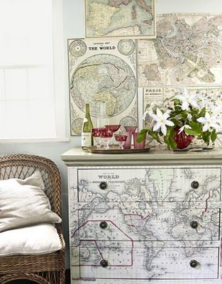 Decoupage map drawers... Awesome for goodwill finds!