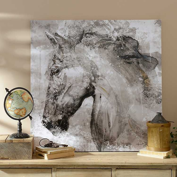 Black and white horse canvas art print in 2020 horse