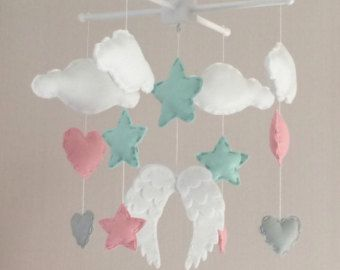 baby mobile baby girl mobile cot mobile angel wings clouds hearts and stars mobile. Black Bedroom Furniture Sets. Home Design Ideas