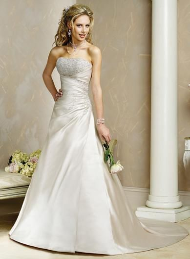 A line dress embroidered bodice satin wedding dress train