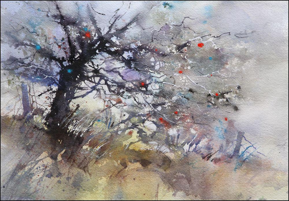 Rex Beanland Glenmore Tree 2 Watercolour 9 X 12 Watercolor