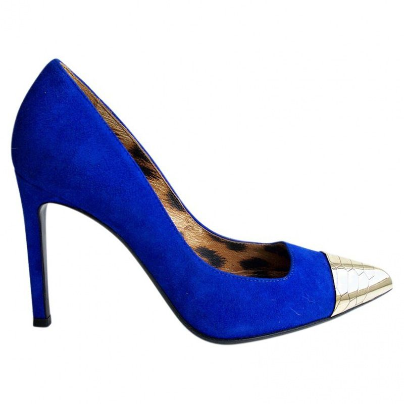 Stunning Roberto Cavalli blue suede leather pumps with metal toe caps. Never worn. Original box and dust bag.<br /> Packaging: Dustbag, Shoe box