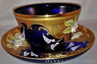 Murano Cobalt BLUE Venetian ART glass Cup w/Saucer Bohemian GOLD Flower Pattern
