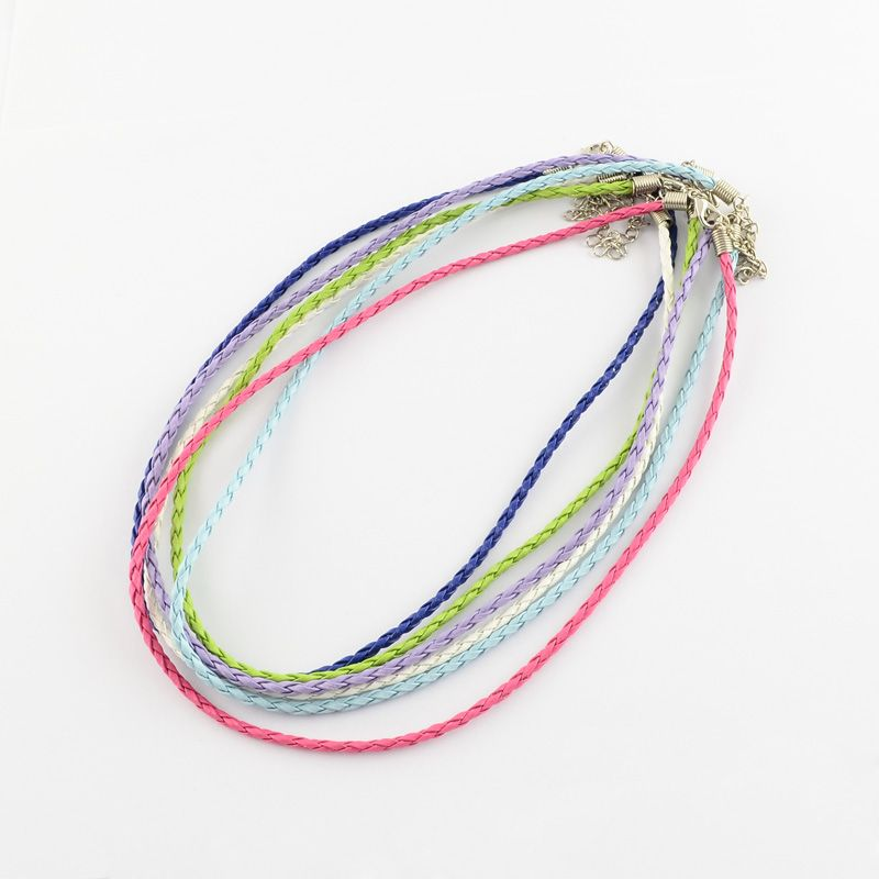 Mixed Color Braided Imitation Leather Necklace Making