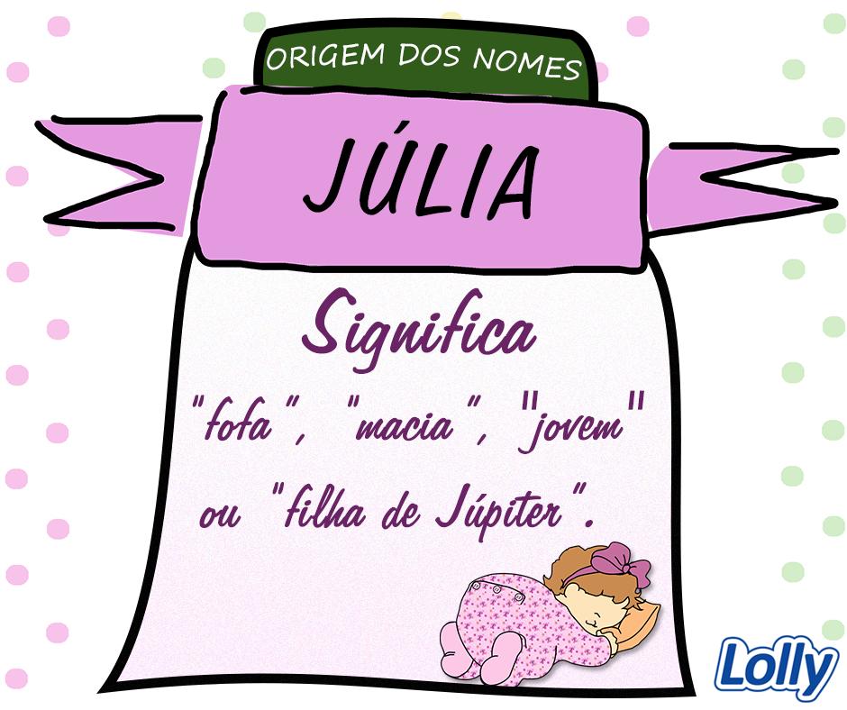 """Júlia é a variante feminina de Júlio, nome originado no latim Julius, que deriva do grego Ioulos, que quer dizer, """"fofo"""", em referência aos pelos faciais dos rapazes, significando por extensão """"jovem"""". Há ainda outra vertente que acredita que a origem do nome Júlia esteja relacionada ao deus romano Júpiter e signifique """"filha de Júpiter"""". Originalmente Julia era nome de uma família patrícia romana, considerada descendente do mitológico Iulo, filho de Creusa e Eneias de Tróia."""