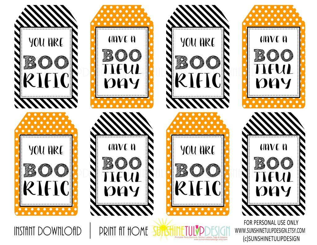 Printable Halloween Gift Tags Halloween Boorific Bootiful Day Favor Gift Tags By Sunshinetulipdesign Halloween Tags Halloween Party Printables Printable Halloween Tags