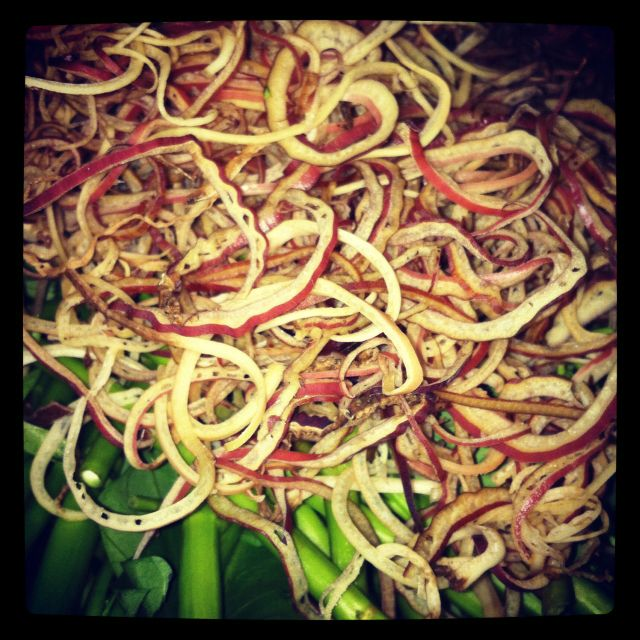 Shredded Banana Flower. This goes into a hot, spicy, sour tamarind soup base. In Vietnam.