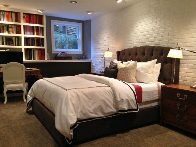 Papier peint imitation brique dans la chambre coucher briques papier pei - Imitation brique blanche ...