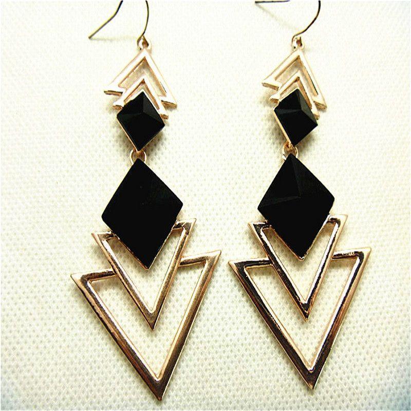 Women Retro Geometric Shape Pendant Earrings For Party Anniversary Jewelry ONE