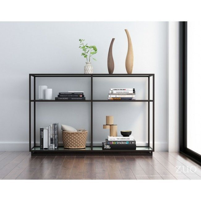 100752 Kure Console Table Distressed Black A Modern Mix