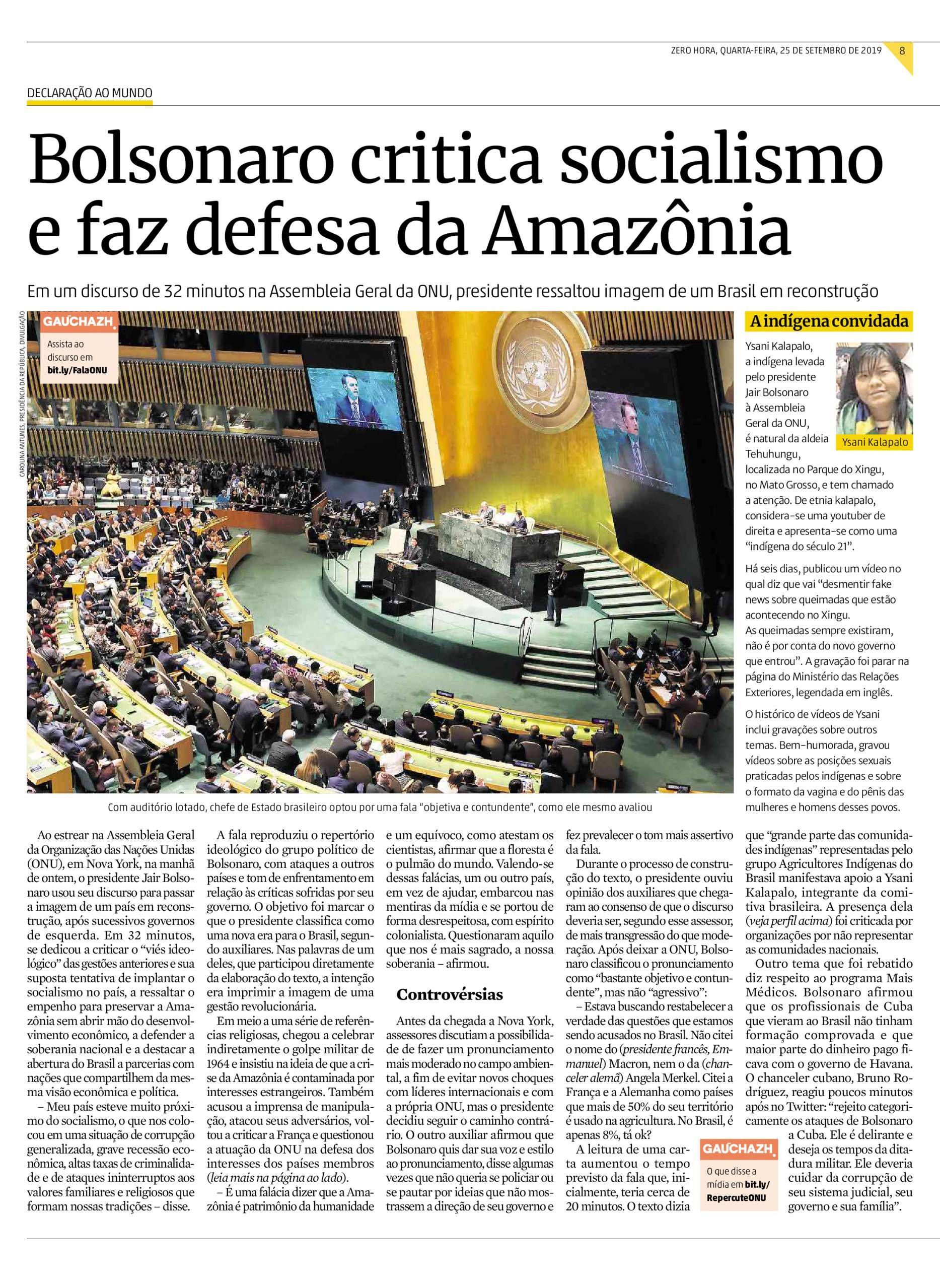Pin De Manchetes Diarias Em Bolsonaro Na Onu Socialismo E Brasil
