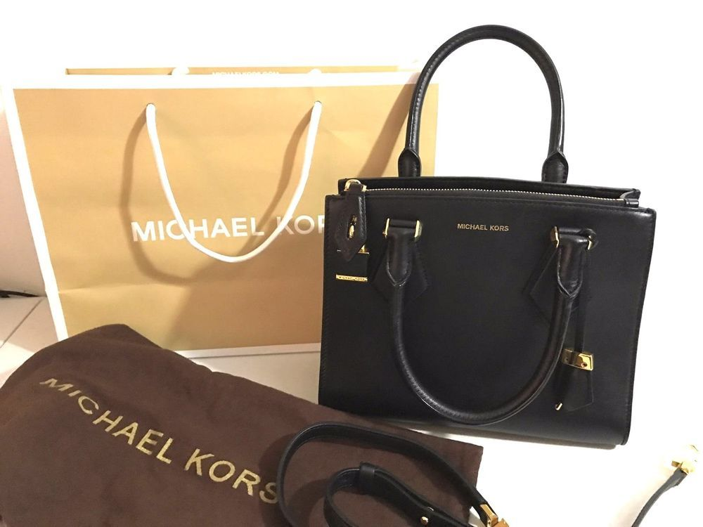 af4498ed49d8 NEW Authentic Michael Kors CASEY Leather Small Satchel Purse BLACK Bag  LOCK KEY  MichaelKors  Satchel
