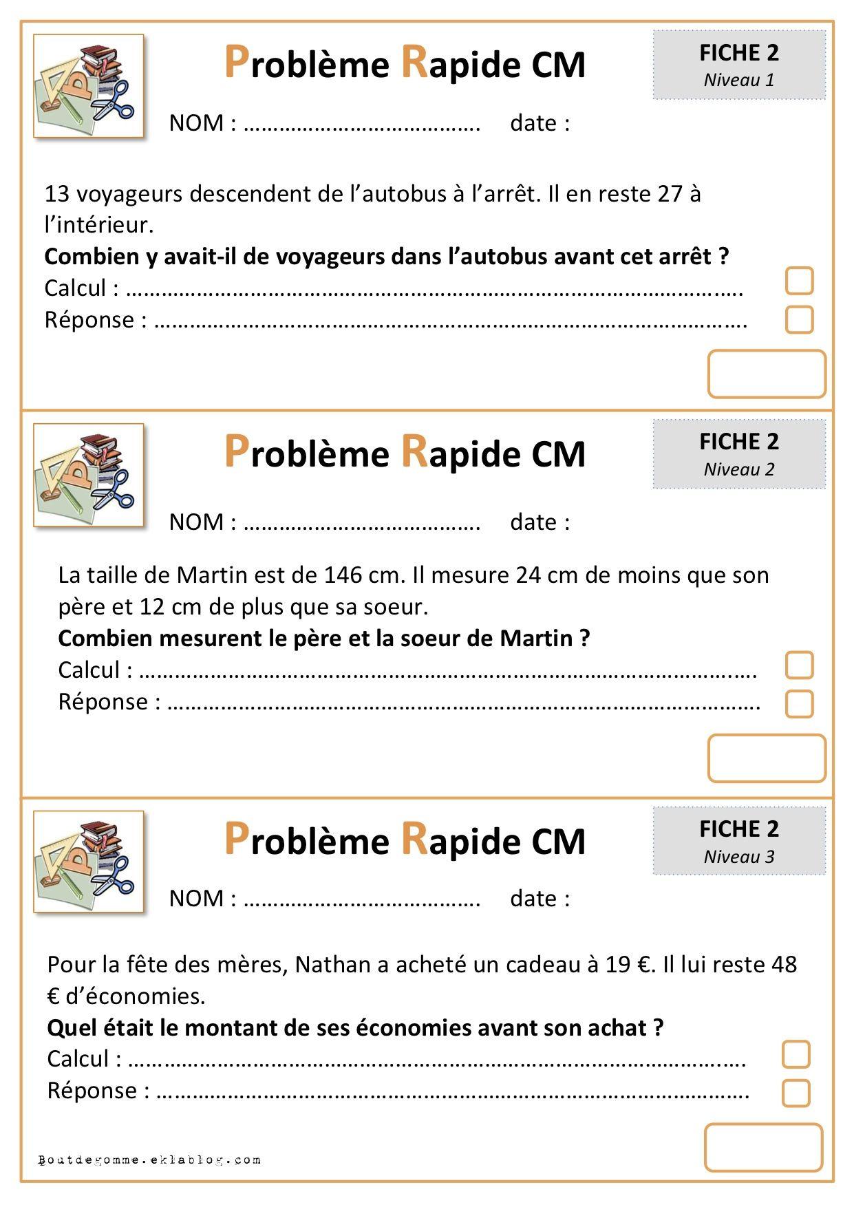 Problemes Rapides Cycle 3 Probleme Cm1 Mathematique Cm1 Maths Cm1