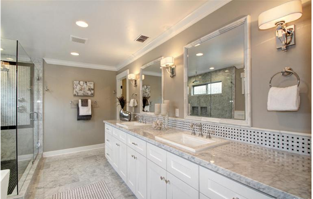 White Vanity Carrara Marble Tops And Marble Framed Mirrors I