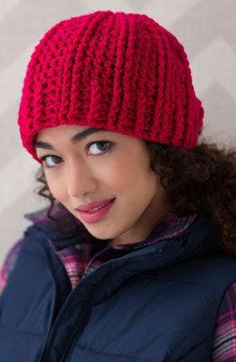 8907c45392feb Ridged Crochet Hat in Red Heart Super Saver Economy Solids - LW4647 -  Downloadable PDF