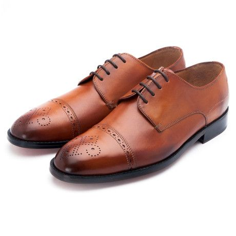 Derby with Toecap Punches// Cognac (US: 7)