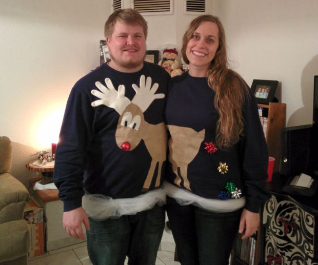Easy Reindeer Couples Ugly Sweater