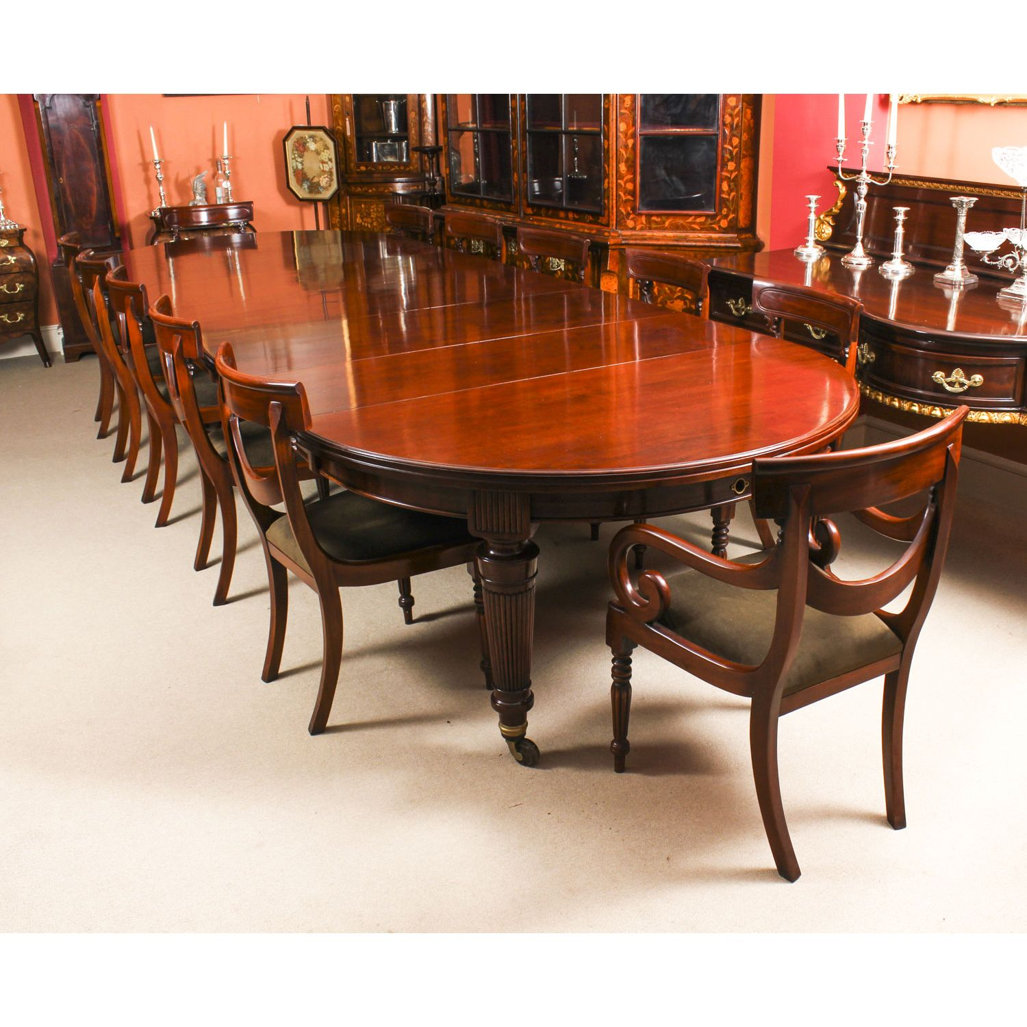 Antique Victorian Extending Dining Table C1870 12 Bespoke Swag
