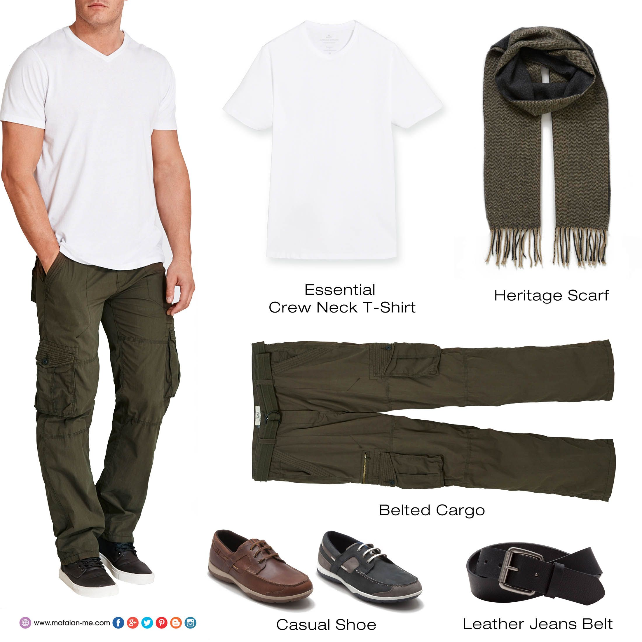Mens gloves at matalan - Essential Crew Neck T Shirt Heritage Scarf Belted Cargo Casual Shoe