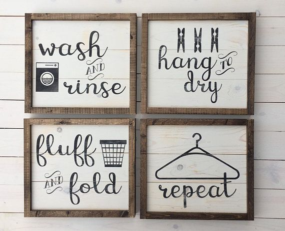 Photo of Laundry Room Decor Set of Four Signs | Farmhouse Wall Decor | Rustic Laundry Signs | Painted Wood Signs | Laundry Room Collection