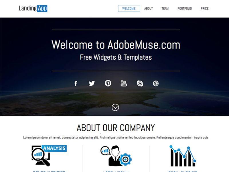 free download adobe muse landing theme