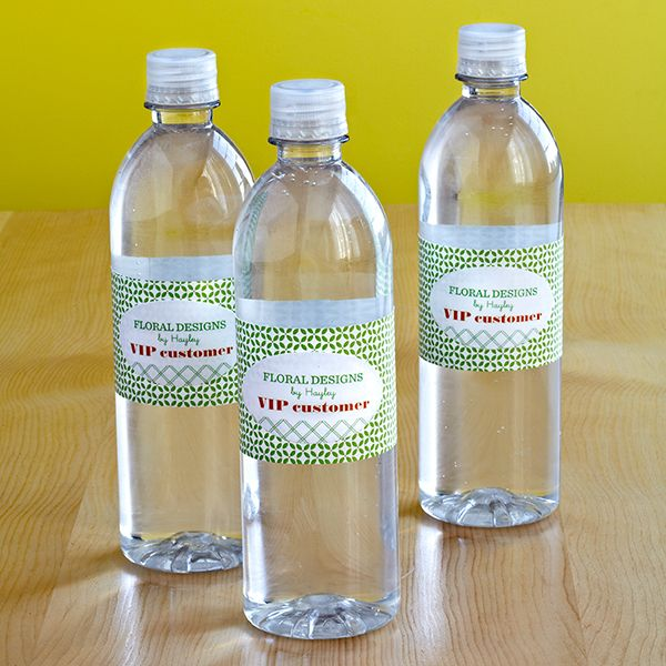 Grand Opening Water Bottles - Drink in the compliments when you display water bottles customized with your party theme or company's logo using Avery® labels.  Get template.