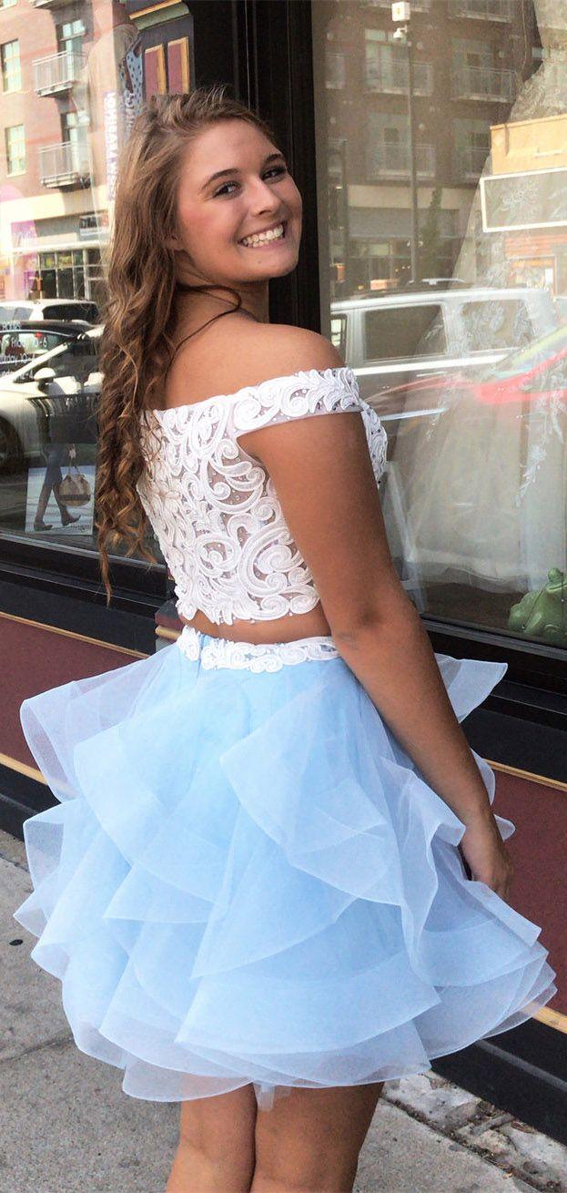 Plus size piece sky blue lace u organza homecoming dresses ard