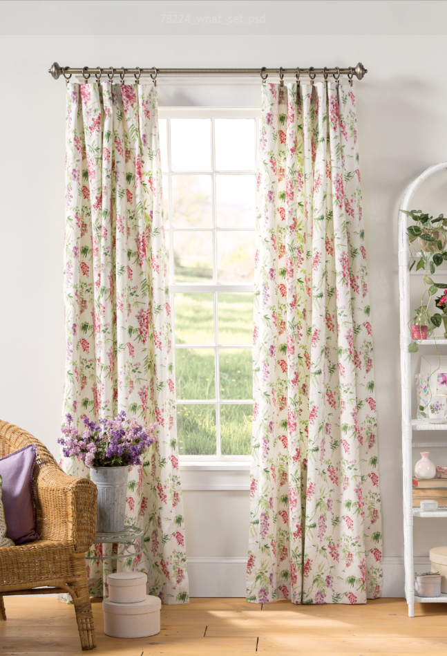 A Touch Of Color On A Neutral Background Really Makes These Floor Length Curtains The Cutest Finishing Touch House Interior Decor Curtains Living Room Curtains