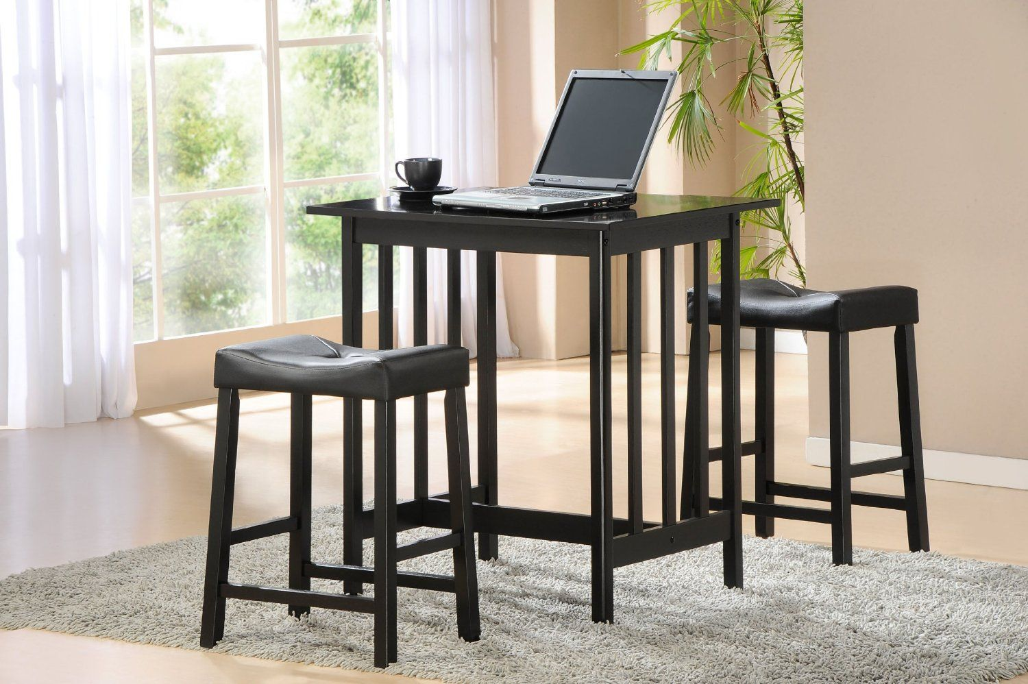 Amazon.com: Homelegance 5310BLK 3-Piece Counter Table and Stools in Black: Home & Kitchen $119.45