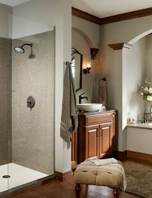 shower walls, what is that? solid surface? | bathroom