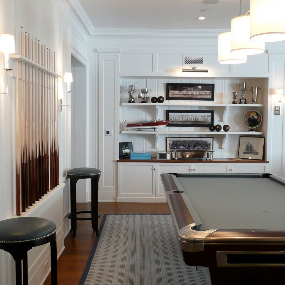 Billiard Rooms: Pool Table W/ Shelving & Artful Pool Cue Display