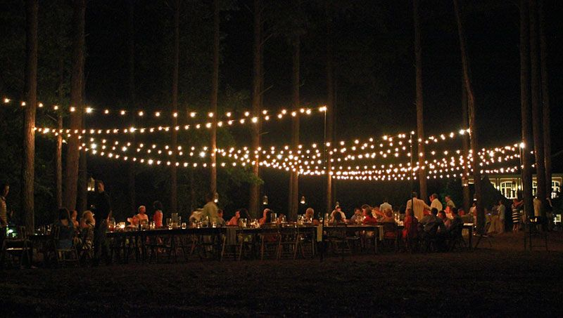 Cafe String Lights Installed For A Wedding Rehearsal Dinner In Reynolds Plantation Lake Oconee