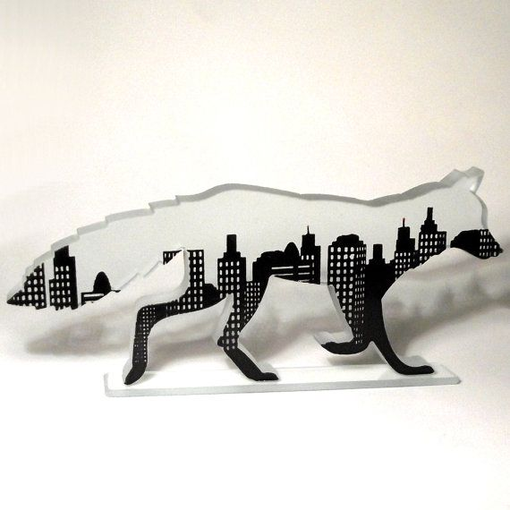 Urban Fox Glass Screen Printed Sculpture by flyingcheesetoastie, £45.00